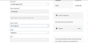 Woocommerce checkout form with cities dropdown